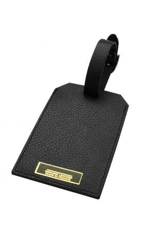 Laurige Leather Luggage Tag - Black
