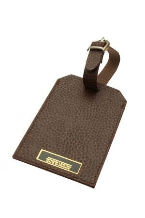 Laurige Leather Luggage Tag - Chocolate Brown