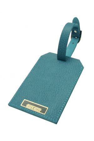 Laurige Leather Luggage Tag - Turquoise