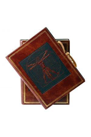 Leonardo Da Vinci Medium Leather Journal with Lined Paper