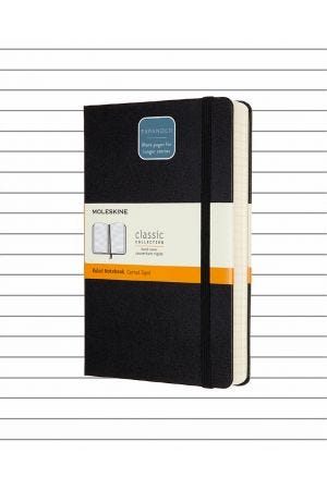 Moleskine Hard Cover Large Expanded Notebook - Black, Lined