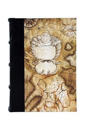 Bomo Art Large Half Leather Bound Journal - Sailing Map