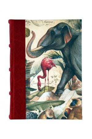 Bomo Art Large Half Leather Bound Journal - Wild Animals