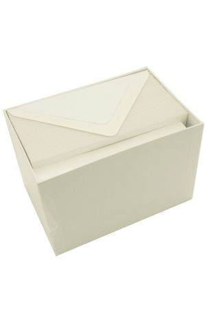 Original Crown Mill Luxury Laid Paper Set of 50 Cards and Envelopes - White