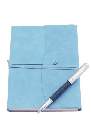 Ohto Giza Blue Leather Rollerball Pen & Amalfi Large Leather Journal