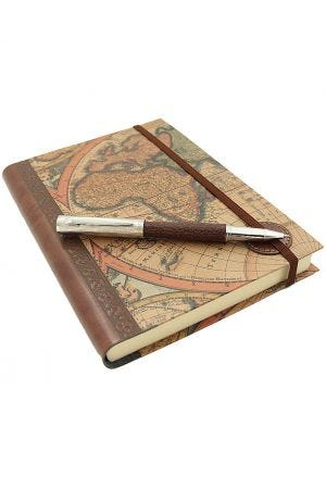 Ohto Giza Brown Leather Rollerball Pen & World Map Journal