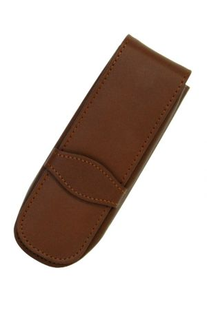 Online Leather 2 Pen Case - Brown