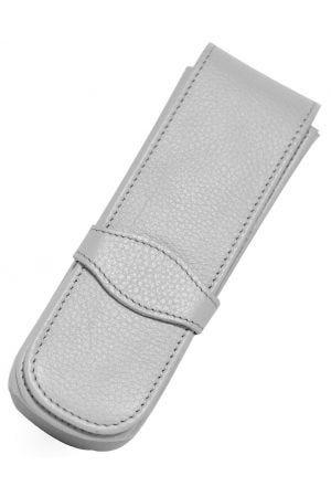 Online Leather 2 Pen Case - Light Grey