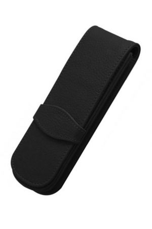 Online Leather 2 Pen Case - Black