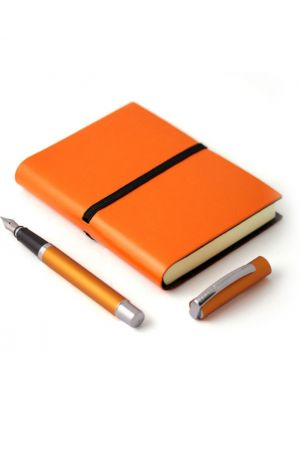 Online Orange Fountain Pen & Ravello Small Leather Journal