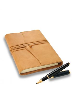 Parker IM Black Rollerball Pen & Amalfi Medium Refillable Leather Journal