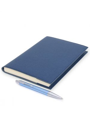 Parker IM Blue Chiselled Ballpoint Pen & Palmi Refillable Leather Journal