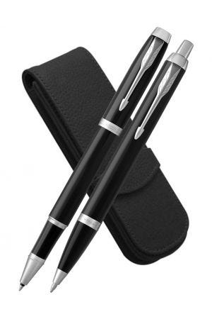 Parker IM Black Chrome Trim Rollerball, Ballpoint and Leather Pen Case Set