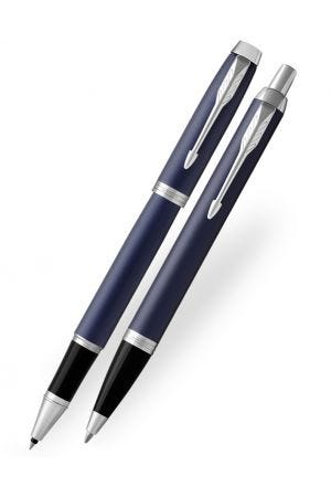Parker IM Blue Chrome Trim Rollerball & Ballpoint Pen Set
