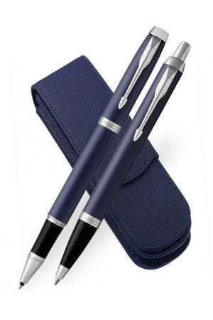 Parker IM Blue Chrome Trim Rollerball, Ballpoint and Leather Pen Case Set