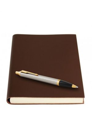 Parker IM Brushed Metal Ballpoint Pen & Sorrento Chocolate Medium Leather Journal