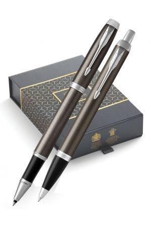 Parker IM Dark Espresso Ballpoint & Rollerball Pen Gift Set