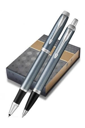 Parker IM Light Blue Grey Ballpoint and Rollerball Gift Set