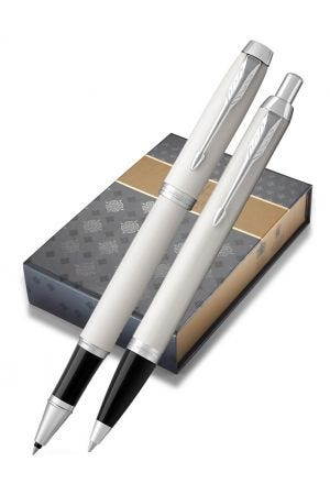 Parker IM White Ballpoint and Rollerball Gift Set