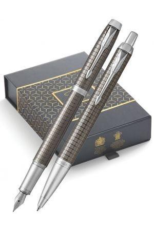 Parker IM Premium Dark Espresso Ballpoint & Fountain Pen Gift Set