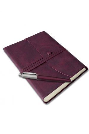 Parker Jotter Purple Ballpoint Pen & Amalfi Leather Journal