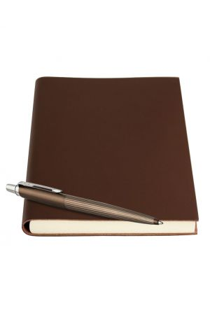 Parker Jotter Premium Brown Ballpoint Pen & Sorrento Leather Journal