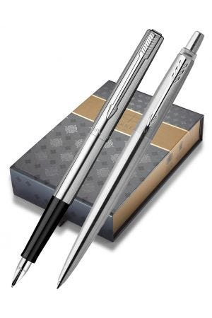 Parker Jotter Stainless Steel Chrome Trim Fountain & Ballpoint Pen Gift Set