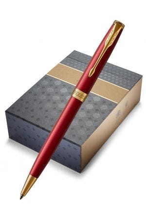 Parker Sonnet Red Gold Trim Ballpoint Pen & Notebook Organiser Gift Set