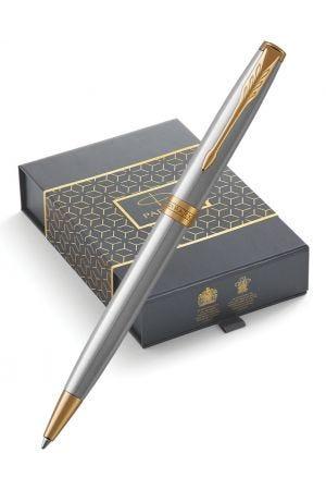 Parker Sonnet Stainless Steel Gold Trim Ballpoint Pen & Pen Pouch Gift Set