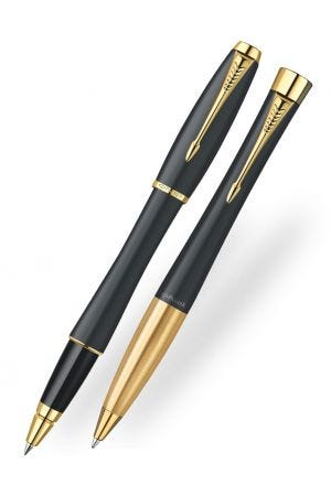 Parker Urban Black Gold Trim Ballpoint & Rollerball Pen Set - 2015 Model