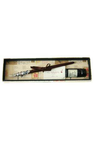Pewter Dip Pen & Ink Set