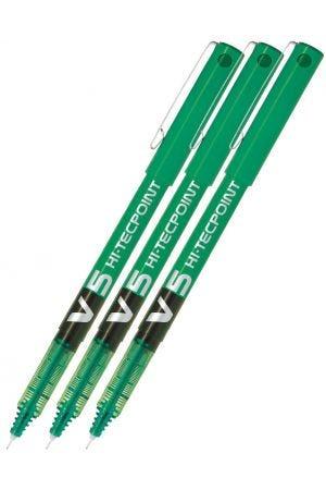 Pilot V5 Hi-Tecpoint Rollerball Pen - Green - 3 Pack