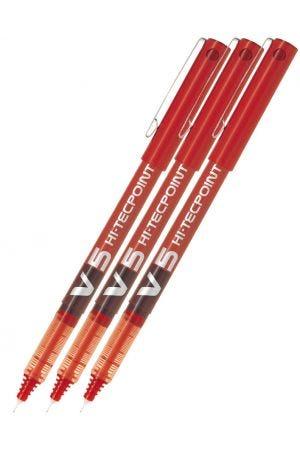Pilot V5 Hi-Tecpoint Rollerball Pen - Red - 3 Pack