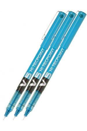 Pilot V5 Hi-Tecpoint Rollerball Pen - Light Blue - 3 Pack