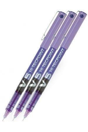 Pilot V5 Hi-Tecpoint Rollerball Pen - Violet - 3 Pack