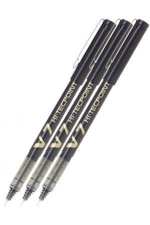Pilot V7 Hi-Tecpoint Rollerball Pen - Black - 3 Pack