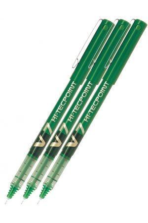 Pilot V7 Hi-Tecpoint Rollerball Pen - Green - 3 Pack
