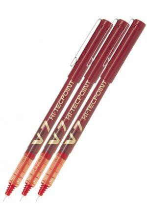 Pilot V7 Hi-Tecpoint Rollerball Pen - Red - 3 Pack