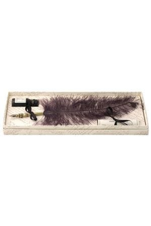 Ostrich Feather Quill & Ink Set - Black