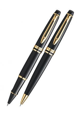 Waterman Expert Black Lacquer Gold Trim Rollerball & Ballpoint Pen Set