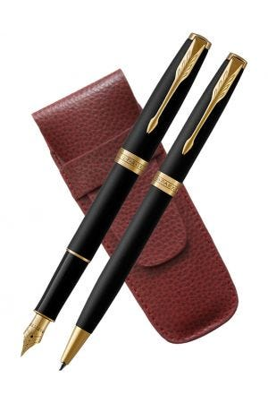 Parker Sonnet Matte Black Gold Trim Fountain & Ballpoint Pen Set with Burgundy 2 Pen Case