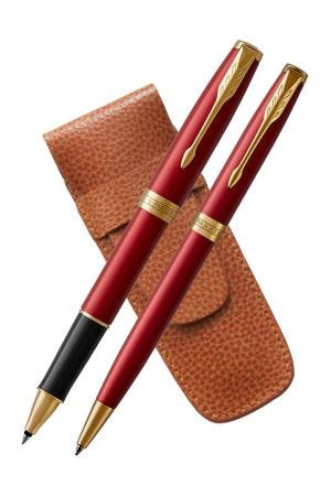 Parker Sonnet Red Gold Trim Rollerball & Ballpoint Pen Set with Tan 2 Pen Case
