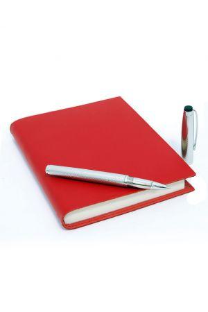Coles Marlowe Chrome Rollerball Pen & Sorrento Medium Leather Journal