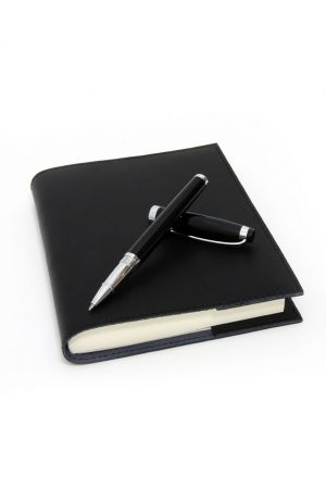 Coles Kipling Black Rollerball Pen & Sorrento Medium Refillable Leather Journal