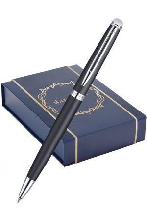Waterman Hemisphere Matte Black Chrome Trim Ballpoint Pen & Pen Pouch Gift Set