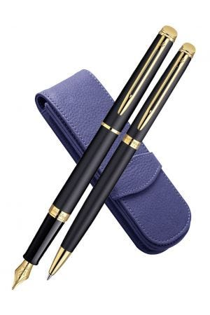 Waterman Hemisphere Matte Black Gold Trim Fountain, Ballpoint & Leather Pen Case Set