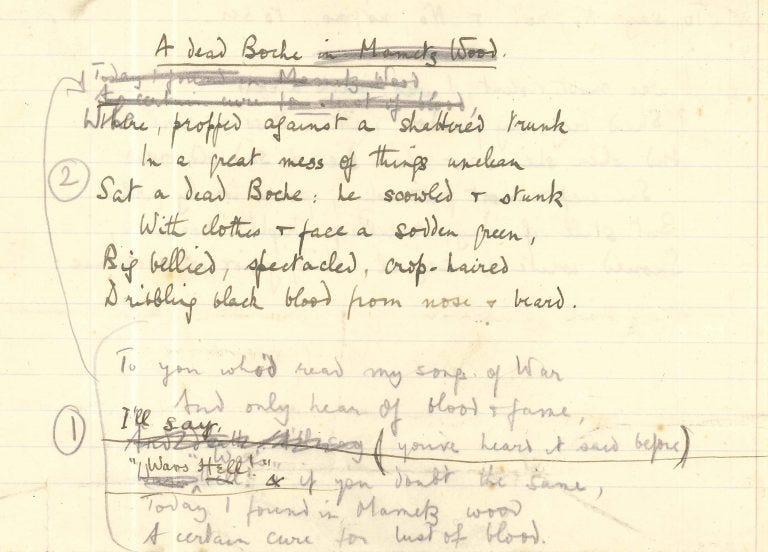 handwritten draft of A Dead Boche by Robert Graves
