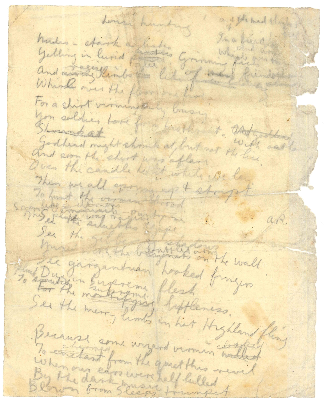 handwritten draft of 'Louse Hunting' by Issac Rosenberg