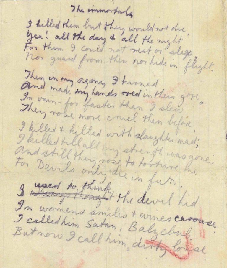 handwritten manuscript of 'The Immortals' by Issac Rosenberg