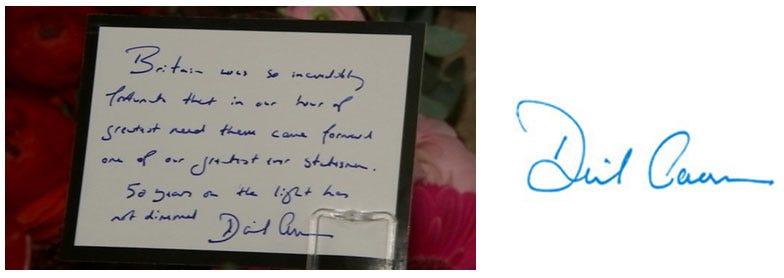 David Cameron's Handwriting